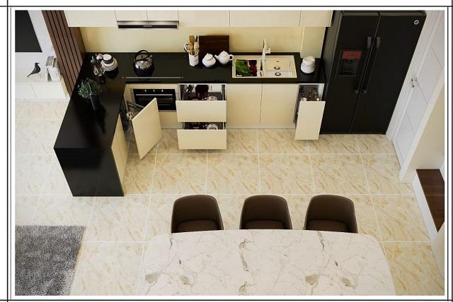 Thiết kế bàn đảo bếp trung tâm của nhà bếp