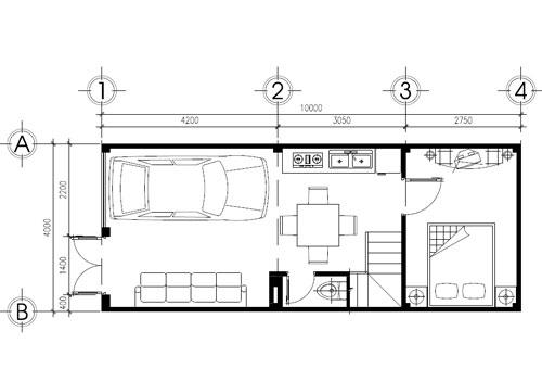Thiết Kế Nhà Phố 2 Tầng 4x10m 2