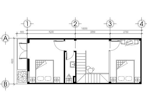 Thiết Kế Nhà Phố 2 Tầng 4x10m 3