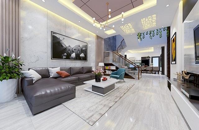Mẫu thiết kế phòng khách liền bếp biệt thự 2