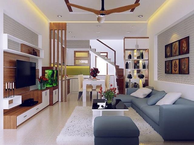 Mẫu thiết kế phòng khách liền bếp biệt thự 3