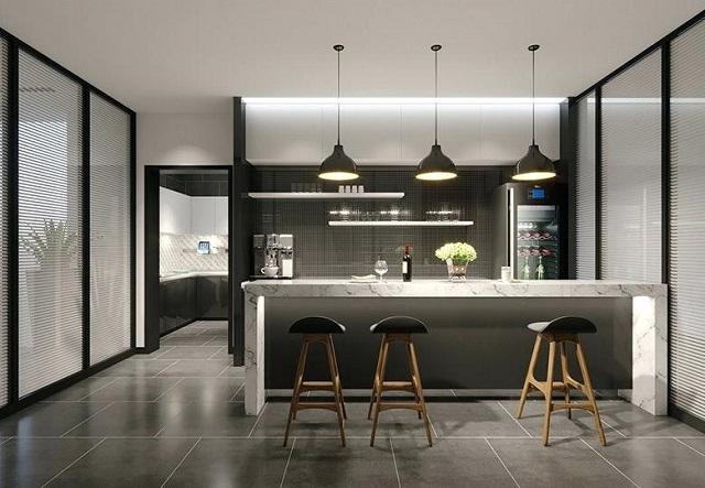 Thiết kế đặt quầy bar ở giữa phòng khách và bếp