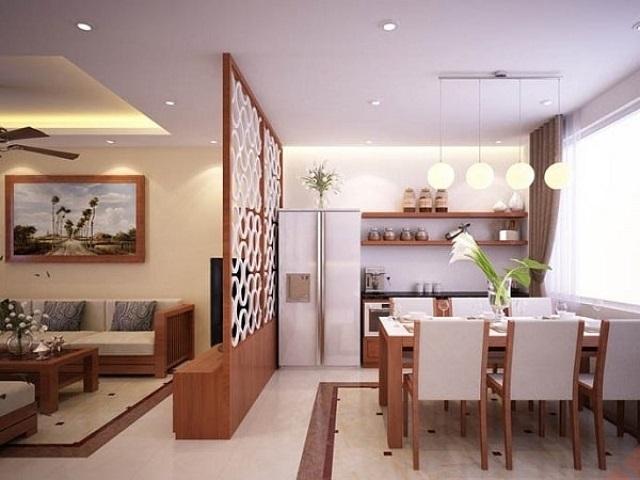 Thiết kế vách ngăn cho phòng khách và phòng bếp