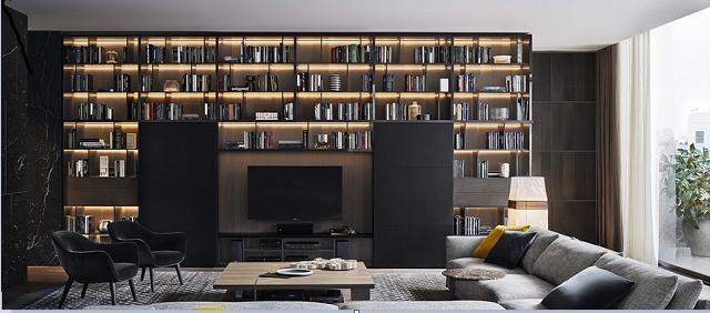 Trang trí tường phòng khách với giá sách treo tường