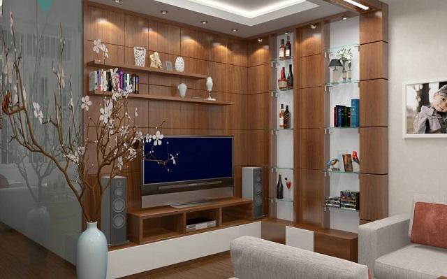 Trang trí tường phòng khách bằng gỗ nhân tạo