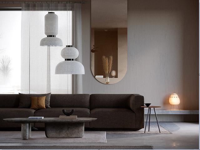 Trang trí tường phòng khách với gương treo tường