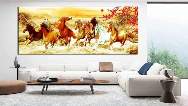 Trang trí tường phòng khách bằng tranh phong thủy