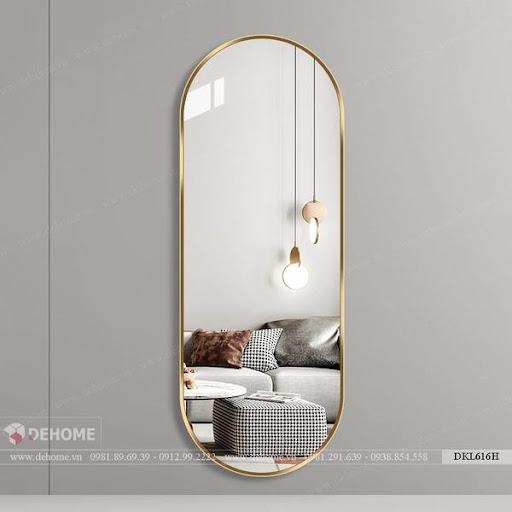 Gương dài toàn thân khung inox mạ PVD vàng