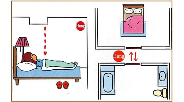 Không đặt nhà vệ sinh đối diện giường ngủ
