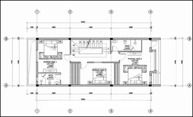 mẫu thiết kế nhà 3 tầng 4 phòng ngủ 2