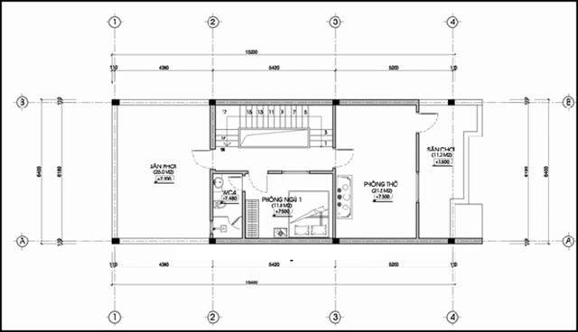 mẫu thiết kế nhà 3 tầng 4 phòng ngủ 3