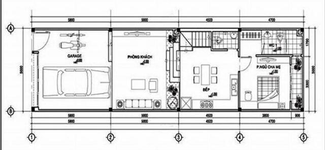 Mẫu thiết kế nhà 2 tầng 6x15m mái bằng 2