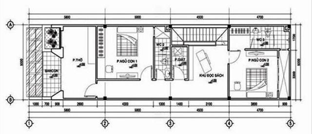 Mẫu thiết kế nhà 2 tầng 6x15m mái bằng 3