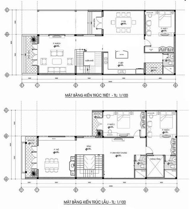 mẫu thiết kế nhà nhà ống 2 tầng 6x15m