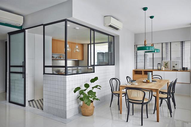 Phân chia phòng bếp và phòng ăn bằng vách ngăn